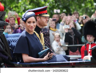 Meghan Markle & Prince Harry stock, London uk,  8 June 2019- Meghan Markle Prince Harry 1st outing since baby. Trooping the colour Royal Family Buckingham Palace Press stock, photo, photograph, image,
