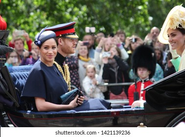 Meghan Markle & Prince Harry stock, London uk,  8 June 2019- Meghan Markle Prince Harry  1st outing together since baby /maternity Trooping the colour Royal Family Buckingham Palace stock photo image