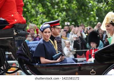 Meghan Markle & Prince Harry stock, London uk,  8 June 2019- Meghan Markle Prince Harry Kate Middleton Trooping the colour Royal Family Buckingham Palace stock Press photo