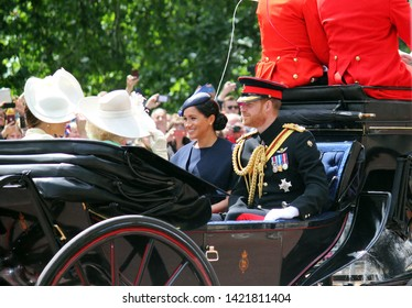Meghan Markle & Prince Harry stock, London uk,  8 June 2019- Meghan Markle Prince Harry  Trooping the colour Royal Family Buckingham Palace stock Press photo photograph, image, picture,