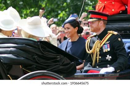 Meghan Markle Prince Harry stock, London uk,  8 June 2019- Meghan Markle Prince Harry  Trooping the colour Meghan smiling Royal Family Buckingham Palace stock Press photo photograph, image, picture,