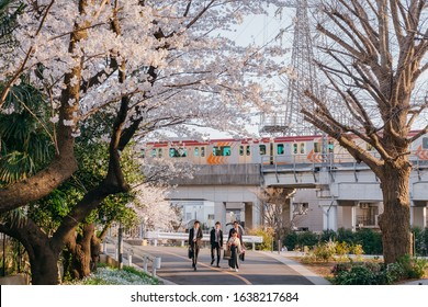 Meguro, Tokyo / Japan - March 26 2018: Graduate Students, Friends, Family at Graduation Ceremony Commencement day of Tokyo Institute of Technology Ookayama Campus