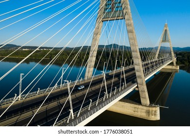 Megyeri Bridge over Danube River, aerial view in Hungary, Europe.