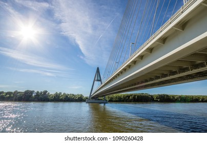 Megyeri Bridge spanning over River Danube by Budapest, Hungary, seen from below