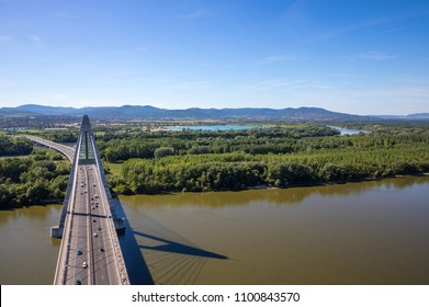 Megyeri Bridge spanning over River Danube by Budapest, Hungary, seen from above