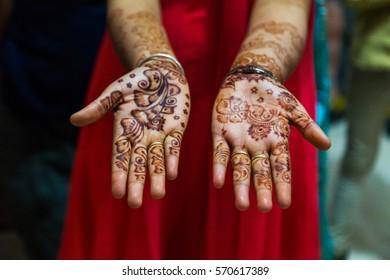 Mehendi Henna pattern on bride at a wedding