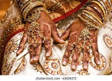 Mehndi, application of henna as skin decoration in Indian Wedding