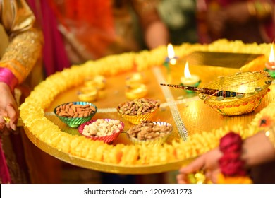 Mehndi ceremony trays having candles chocolate Mehndi and dry fruits,wedding things and mehndi things in pakistan and india