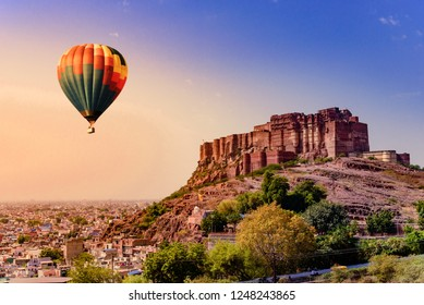 Mehrangarh Fort during sunrise at Jodhpur, Rajasthan with view of cityscape. Mehrangarh Fort is a UNESCO World Heritage site.