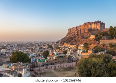 Mehrangarh Fort with Jodhpur city scape at sunset. A UNESCO World heritage site at Jodhpur, Rajasthan, India.