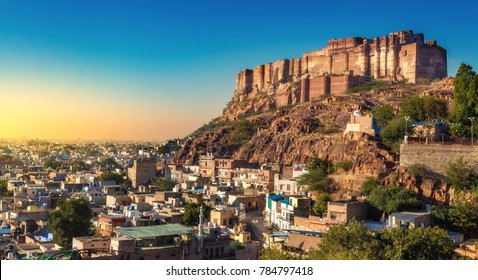 Mehrangarh Fort Jodhpur Rajasthan with cityscape at sunset. Mehrangarh Fort is a UNESCO World Heritage site and popular tourist destination.