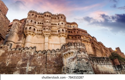 Mehrangarh Fort at Jodhpur Rajasthan at sunset with moody sky. A UNESCO World Heritage site.