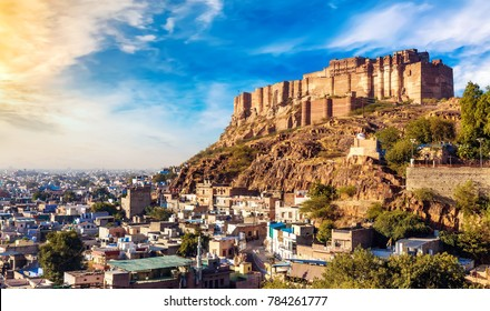 Mehrangarh Fort at Jodhpur Rajasthan with view of Jodhpur city scape. Mehrangarh Fort is a UNESCO World Heritage site.