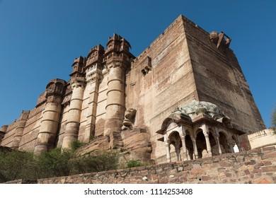 Mehrangarh fortress in Jodhpur in Rajasthan, India
