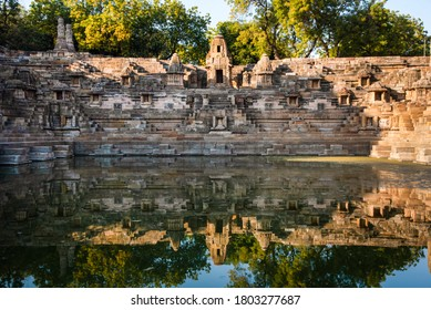 MEHSANA, GUAJRAT, INDIA / JAN 30, 2020 : SURYA KUND outisde the Sun Temple. It is a Hindu temple dedicated to the solar deity Surya located at Modhera village of Mehsana district, Gujarat, India.
