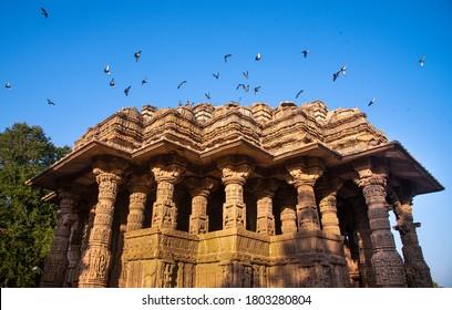 MEHSANA, GUAJRAT, INDIA / JAN 30, 2020 : The Sun Temple is a Hindu temple dedicated to the solar deity Surya located at Modhera village of Mehsana district, Gujarat, India