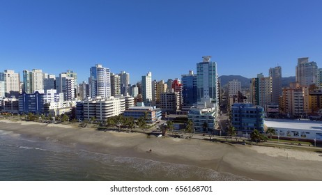 Meia Praia Itapema Brazil, beach of the south of Brazil, place of great concentration of tourists, a beautiful beach of the Atlantic, in South America, city with many buildings