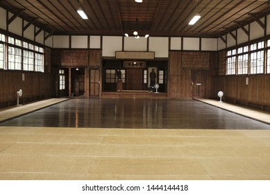 "Meiji Mura, Inuyama, Aichi, Japan - 2019 : Interior inside ""Musei-do,"" Gymnasium for Martial Arts, Fourth National High School, a building moved from Kanazawa."