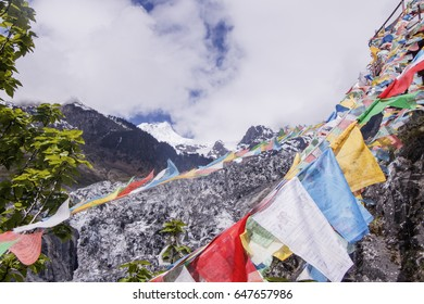 Meili snow Mountain also know as Kawa Karpo located in Yunnan Province, China decorated with colorful prayer flag