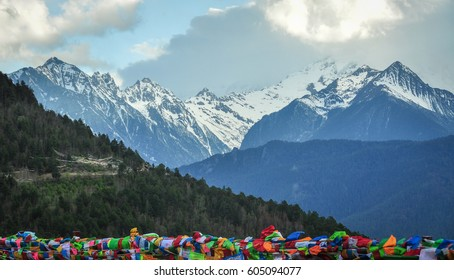 Meili snow mountain in Yunnan, China. Meili Snow Mountains is one of the most sacred mountains of Tibetan Buddhism.