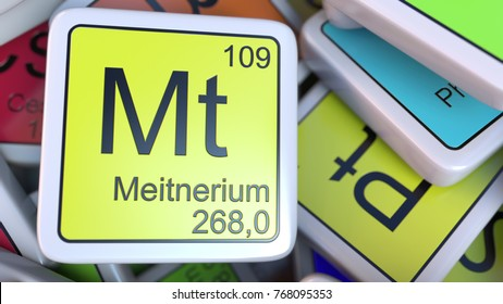 meitnerium mt block on the pile of periodic table of the chemical elements blocks 3d