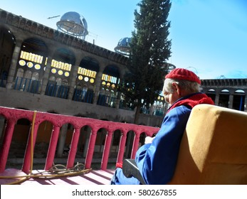 MEJORADA DEL CAMPO, MADRID, SPAIN - NOVEMBER 9, 2013: JUSTO GALLEGO, Spanish Religious man, builder and architect of the Faith Cathedral. He began to build himself a cathedral when he was 40 years old