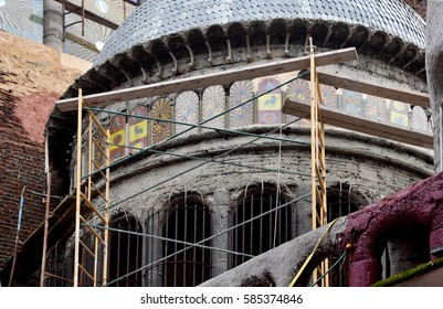 MEJORADA DEL CAMPO, MADRID, SPAIN - NOVEMBER, 2013: FAITH CATHEDRAL, build by the Spanish Religious man, builder and architect JUSTO GALLEGO. He began to build himself a cathedral when 40 years old.