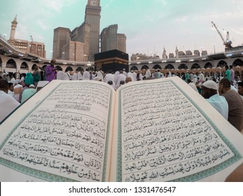 Mekkah, Saudia Arabia, 17 May 2018,  Quran reading and backdrop Kabah