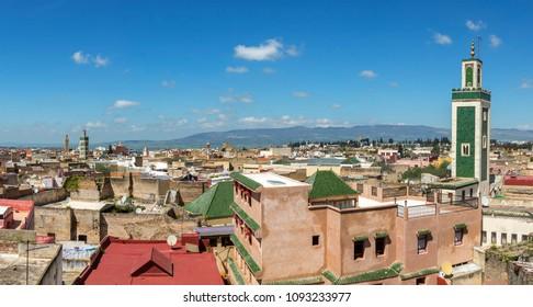 Meknes cityscape panorama, Morocco
