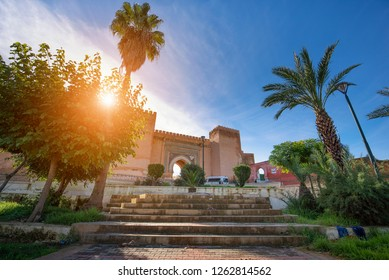Meknes, Morocco - 08 December, 2018: View of Meknes at Bab Berdaine Gate. Meknes is a city listed as a UNESCO world heritage site. a city which was founded in the 11th century by the Almoravids