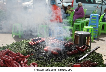 MEKNES, MOROCCO - Aug 28: Meat on an open air grill at the local markets in the town of Meknes, Morocco on the 28th August, 2015.