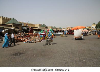 MEKNES, MOROCCO - Aug 28: A panoramic view of the busy square at the entrance to the ancient town of Meknes, Morocco on the 28th August, 2015.
