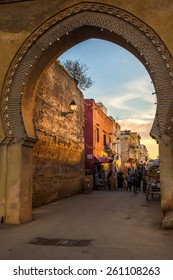 MEKNES, MOROCCO - DECEMBER 23: Bab Belqari and a alley of the Imperial City on December 23, 2014 in Meknes, Morocco