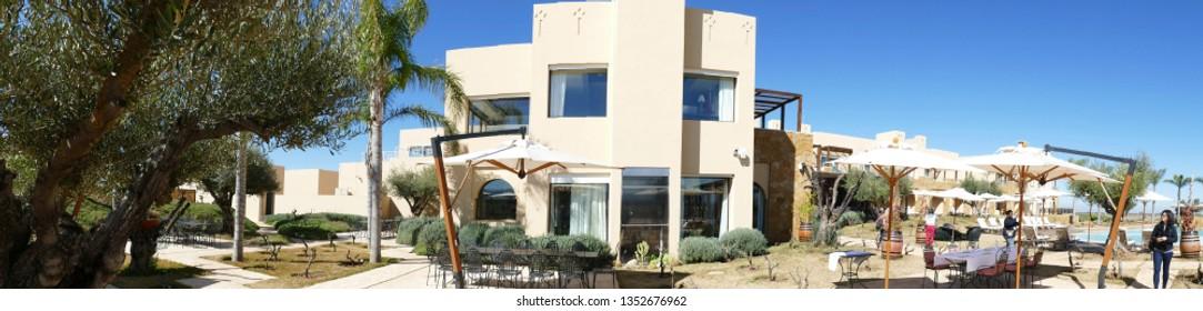 MEKNES, MOROCCO - FEB 12, 2019 - Modern Moroccan style hotel building of Chateau Roslane, Meknes, Morocco, Africa