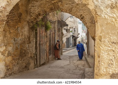 MEKNES, MOROCCO - FEBRUARY 18, 2017: Unidentified people walking in the street of Meknes, Morocco. Meknes is one of the four Imperial cities of Morocco.