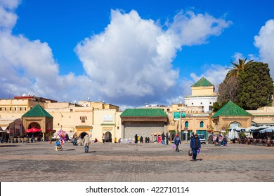MEKNES, MOROCCO - FEBRUARY 29, 2016: El Hedim Square in Meknes, Morocco. El Hedim is a main and biggest square in Meknes, Morocco