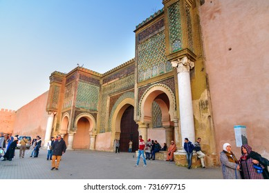Meknes, Morocco - Jan 16, 2017: Gate Bab Mansour in ancient Medina. Meknes is one of four Imperial cities of Morocco