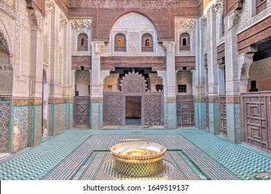 Meknes, Morocco - January 2020 : Bou Inania Madrasa or Islamic School, HDR Image