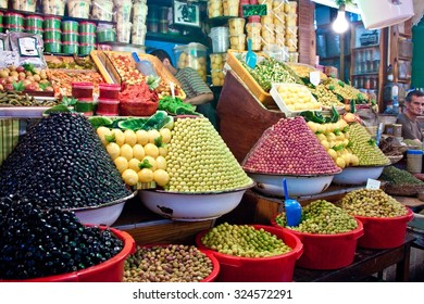 MEKNES, MOROCCO - JUL 28: Olive stall at a market on Jul 28, 2010 in Meknes, Morocco. Meknes is a 1000 years old imperial city in Morocco.