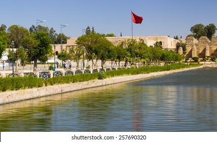 MEKNES, MOROCCO - JULY 24: Agdal pond within the Imperial City on July 24, 2014 in Meknes, Morocco. Meknes is a 1000 year old imperial city in Morocco.