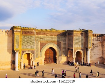 MEKNES, MOROCCO - MAY 01: Unidentified people in front of Bab Mansour on May 01, 2013 in Meknes, Morocco. The old medina of Meknes is declared UNESCO World Heritage Site.