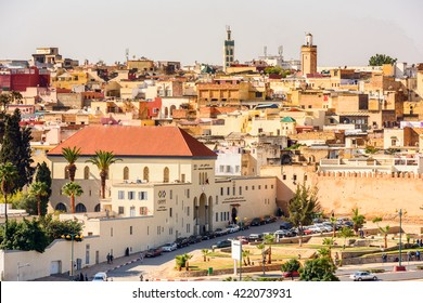 MEKNES, MOROCCO - SEP 10, 2015: Architecture of Meknes, a city in Morocco which was founded in the 11th century by the Almoravids as a military settlement,