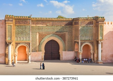 Meknes, Morocco - September 17, 2015: Bab Mansour, gate of the old medina in Meknes, Morocco. Unidentified people visible. The old medina of Meknes is declared UNESCO World Heritage Site