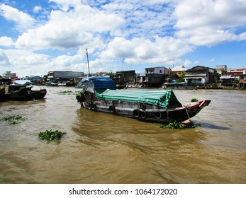 Mekong Delta, Vietnam - December 15, 2013: floating market boat over Mekong River in Vietnam