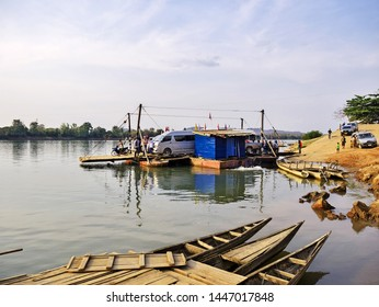Mekong / Laos - 27 Feb 2012: The ferry on Mekong river, Laos