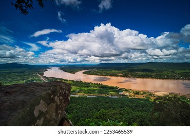 Mekong River Aerial View, landscape with blue sky and beautiful clouds