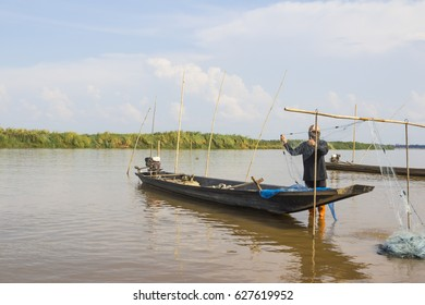 Mekong river with fishing boat