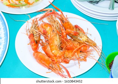 Mekong River giant freshwater prawn for lunch.