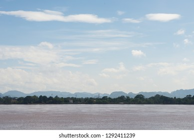 Mekong River and mountain in Laos, River side view from Thailand.