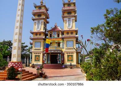 MEKONG RIVER, VIETNAM - FEB 6, 2015 -  Cao Dai Temple,  Mekong River delta,  Vietnam
